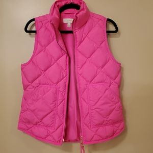 J Crew Hot Pink Puffer Vest Size Small